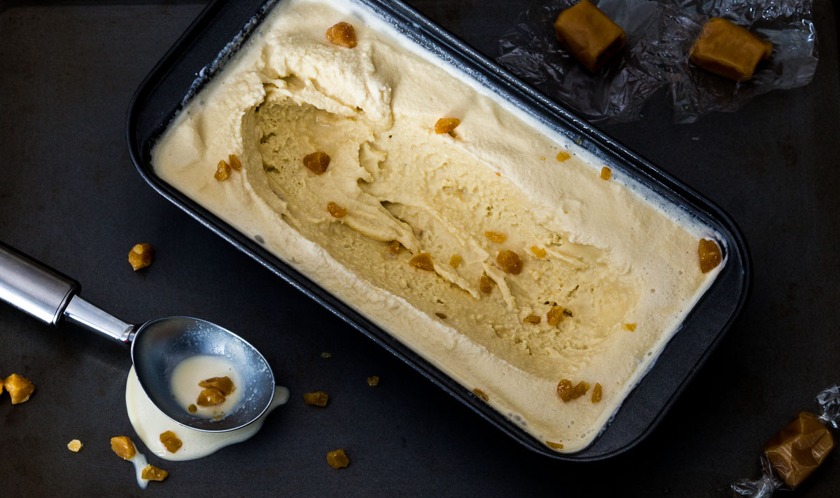 Pumpkin Ale Ice Cream with Smashed Toffee