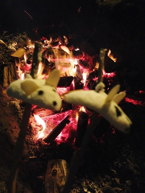 Roasting orange blossom marshmallow mice over the fire pit. A full circle ending to an amazing evening.