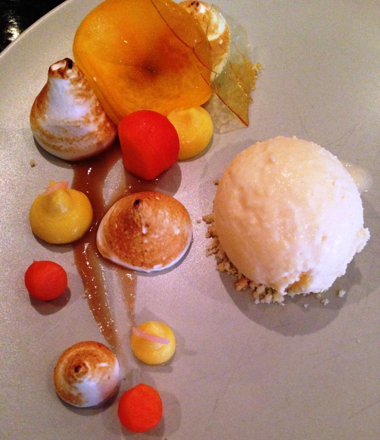 White peach puree, pumpkin custard, lime meringue, papaya, fresh peach, pickled ginger ice cream, sugar shards