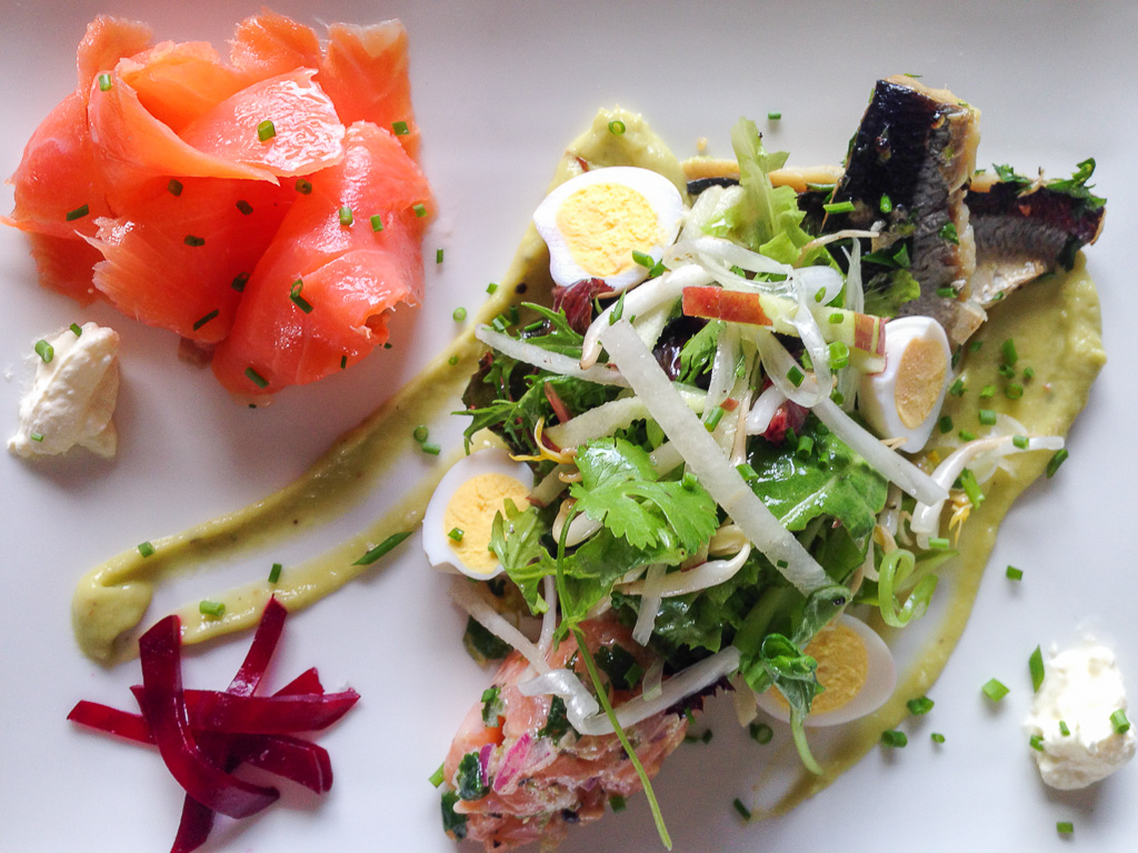 Salad of Smoked Trout, Herring, Tartare of Salmon with apple, cucumber and quacamole.