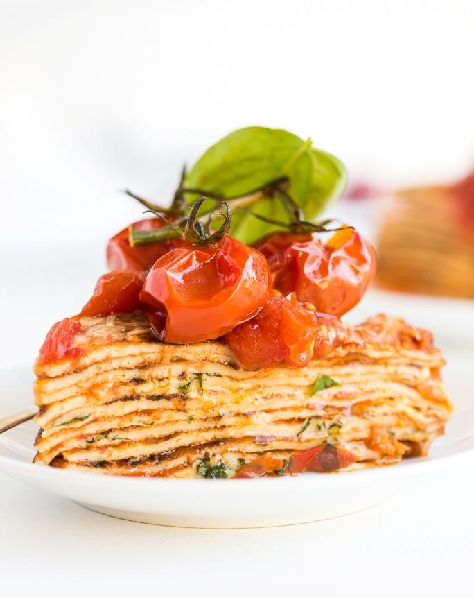 Tomato and Basil Savoury Crepe Cake