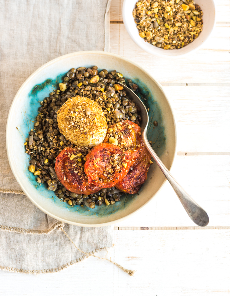 Sumac Roasted Tomatoes and Lentils, Dukkah Crusted Eggs