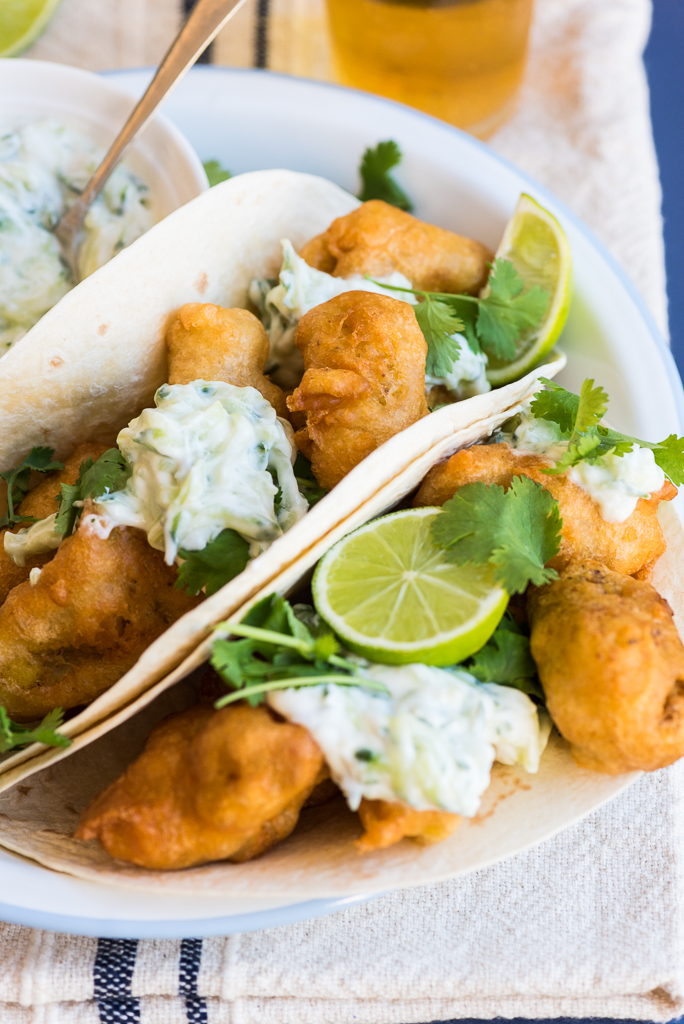 Curry and Beer Battered Fish Tacos