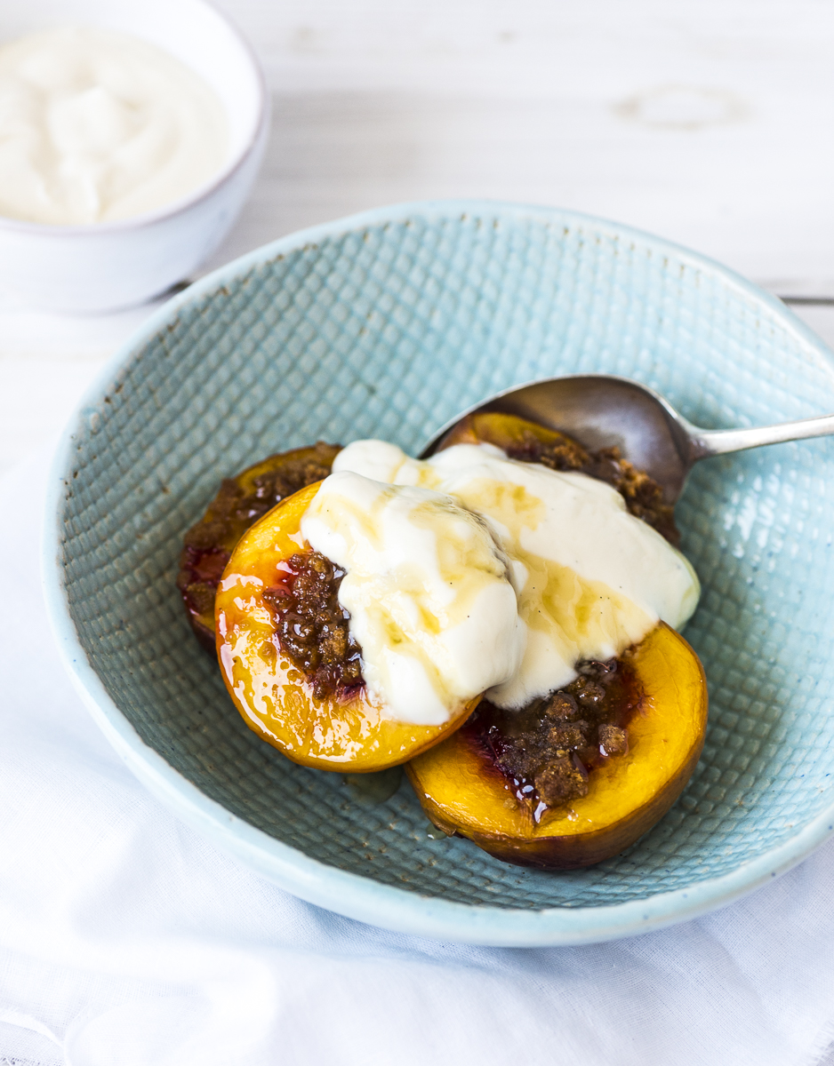 Honey Roasted Nectarines with Vanilla Yoghurt