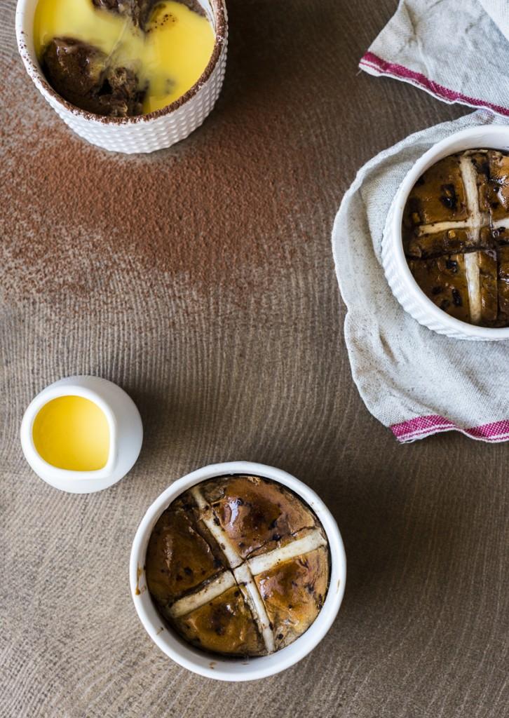 Hot Cross Bun Chocolate Pudding
