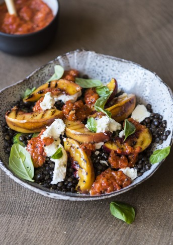 Grilled Nectarine and Lentil Salad with Red Pepper Pesto