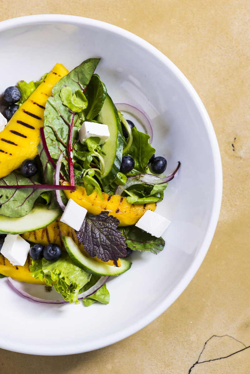 Grilled Mango with blueberries and Danish Feta Salad