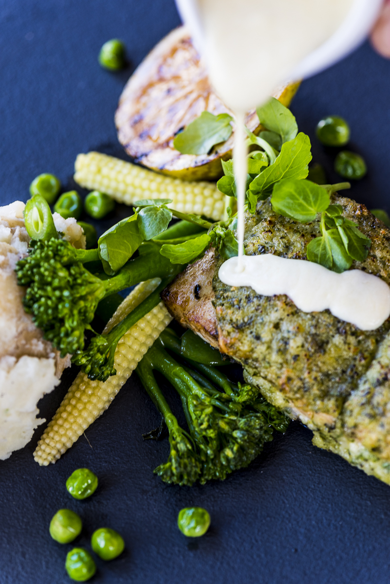 Pan Seared Parmesan and Herb Crusted Line Fish