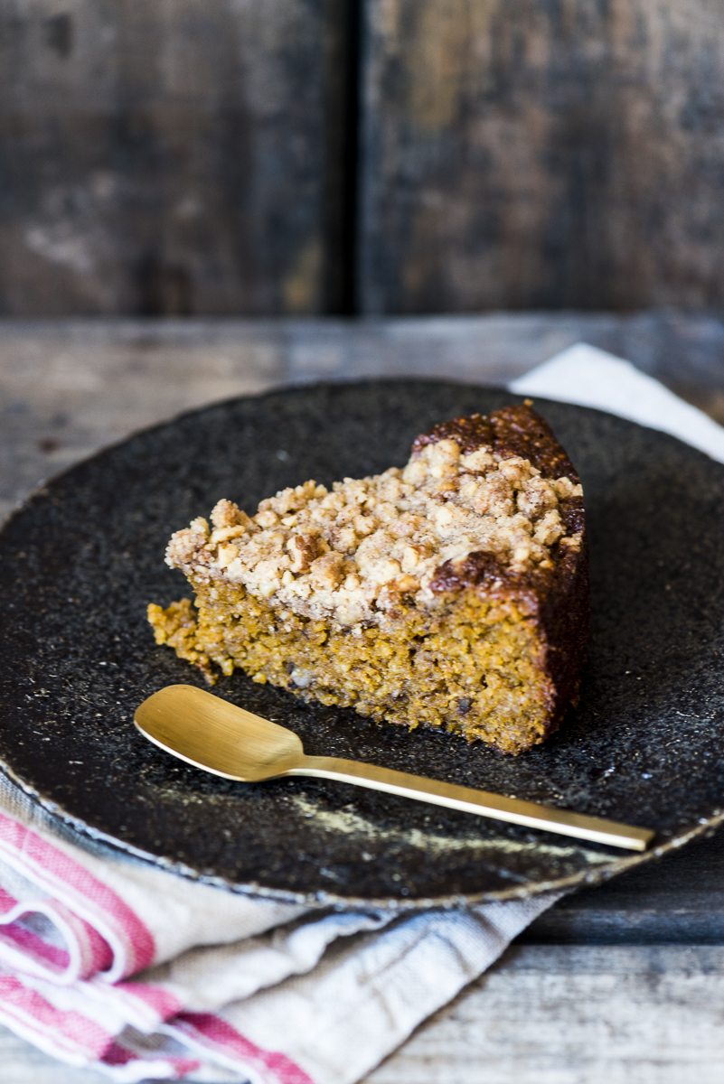 Freekeh Pumpkin Coffee Cake with Walnut Streusel