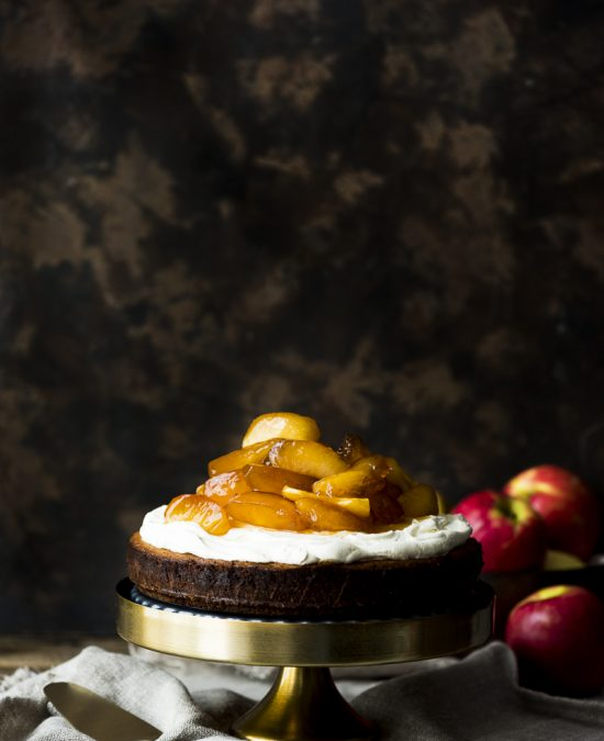 Persian Love Cake with Caramel and Brandy Poached Apples