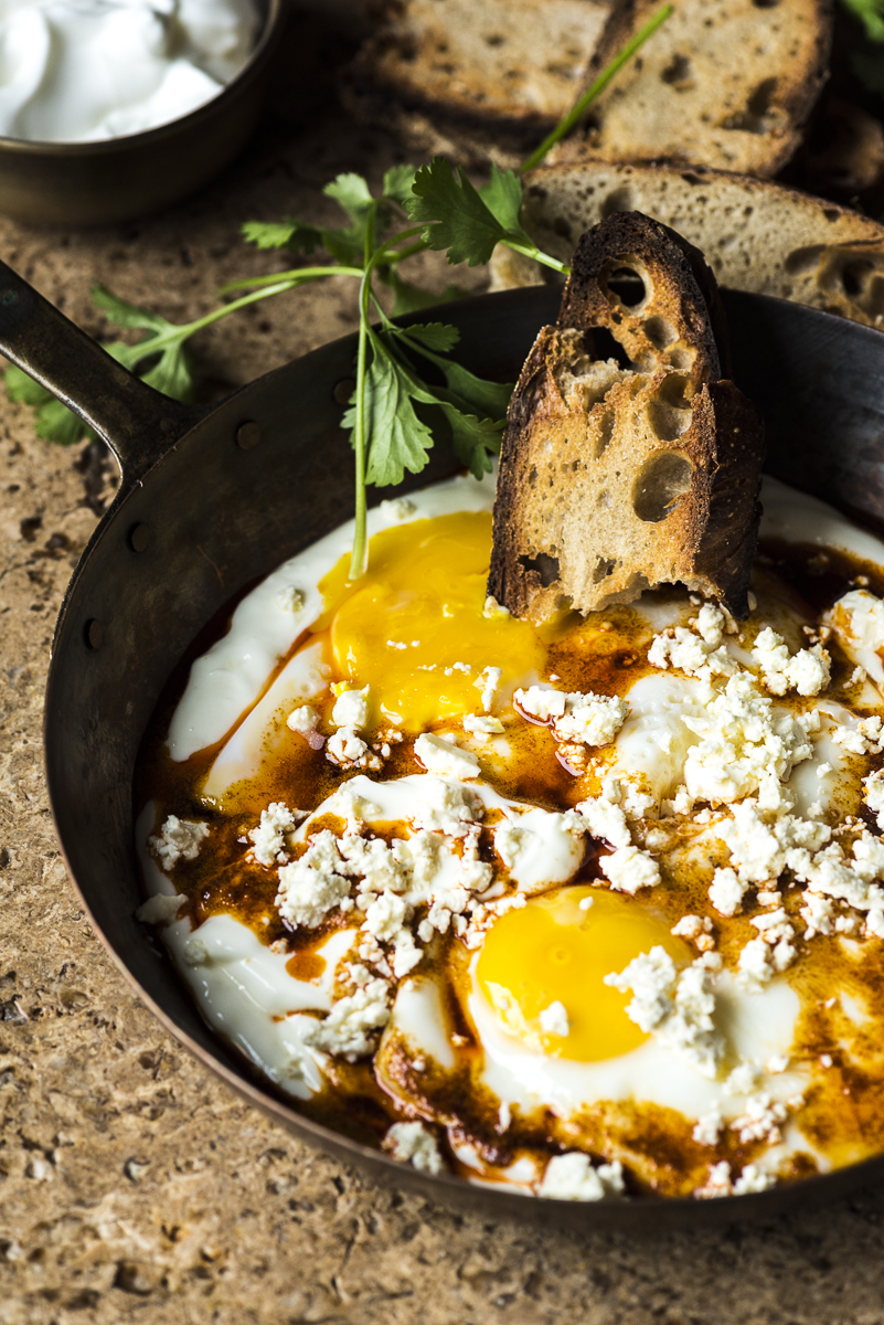 Fried Eggs in Garlicky Yogurt