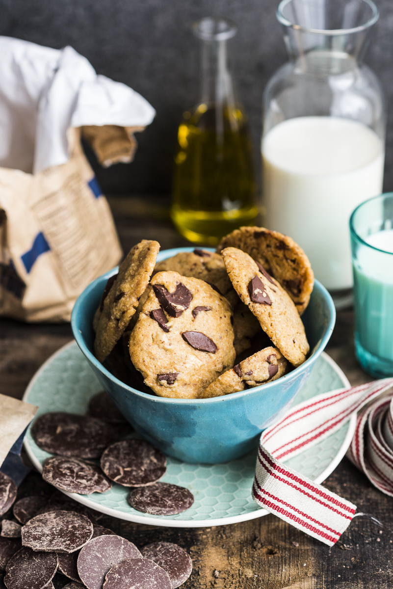 Olive Oil Espresso Choc Chip Cookies