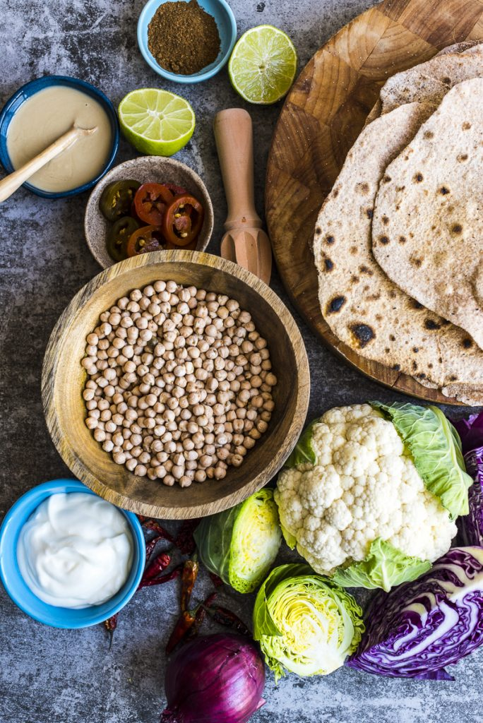 Spelt Flatbreads with Spiced Roasted Chickpeas and Cauliflower