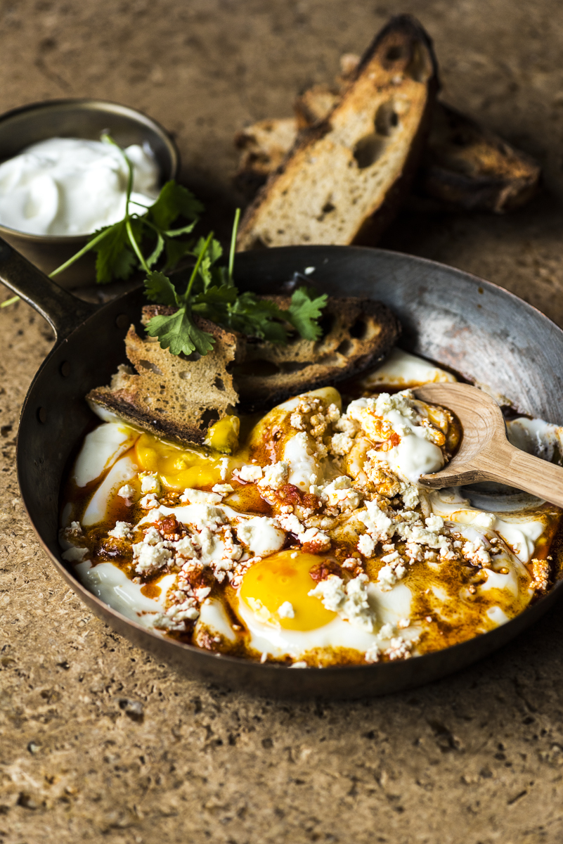 Fried Eggs in Garlicky Yoghurt with Feta Cheese -
