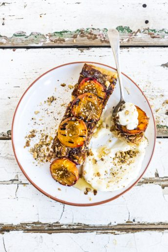 Butterkuchen, Grilled Nectarine, Labneh and Dukkah