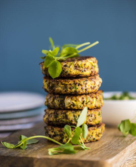 Quinoa Veggie Burgers with Avocado Tahini Dip