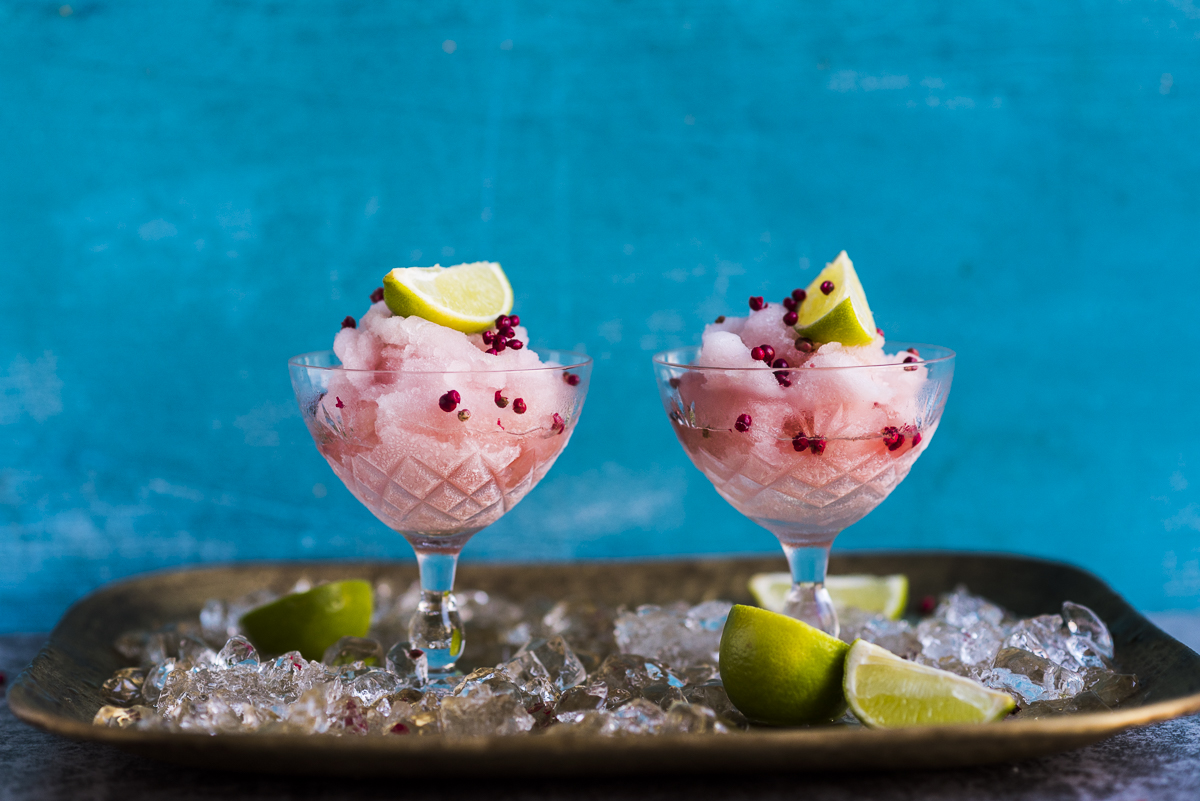 Frosé with Rose Water and Pink Peppercorns