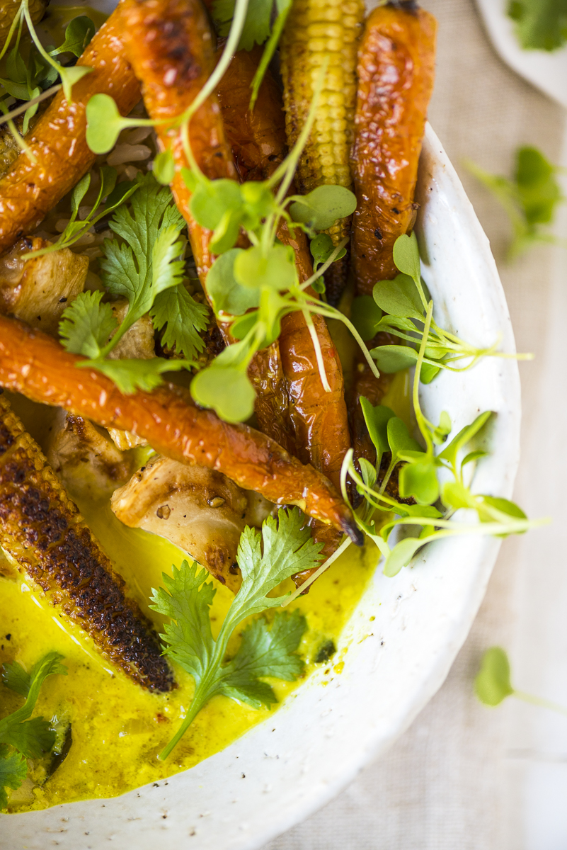 Spiced Turmeric Broth with Roast Veggies