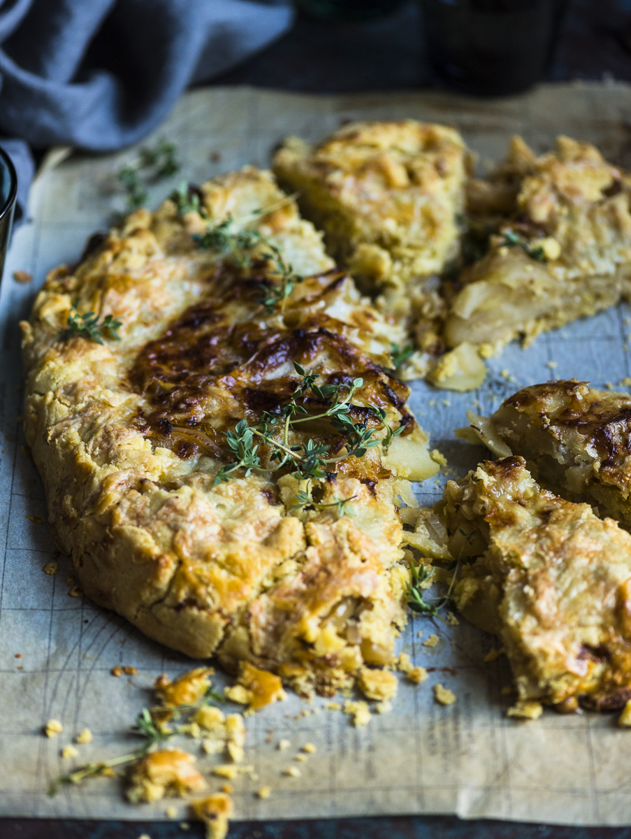 Cider Cooked Apple, Onion and Cheddar Galette