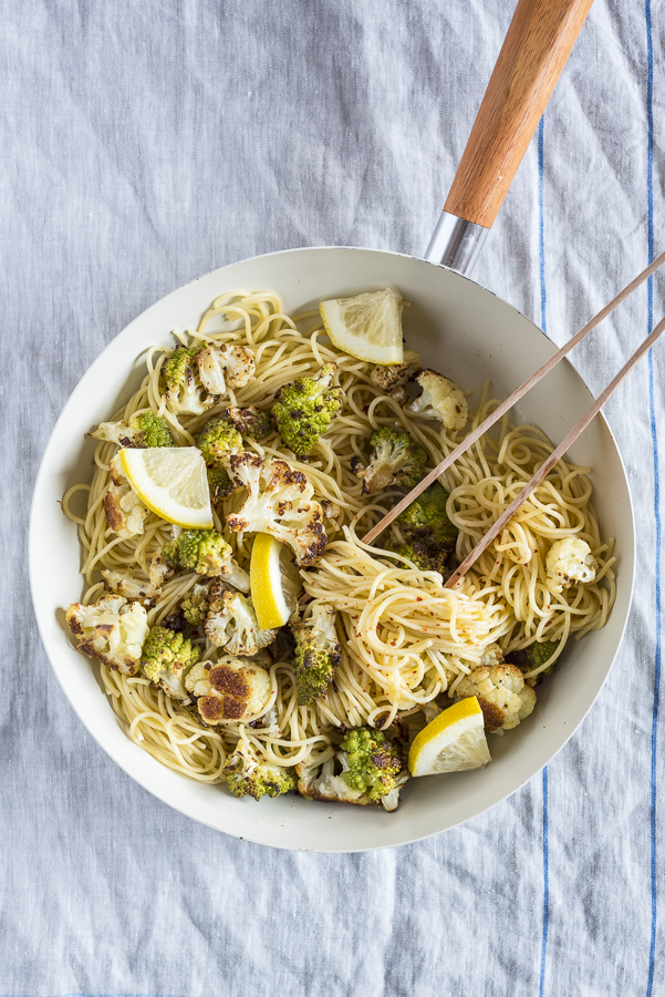 Roasted Romanesco and Cauliflower Pasta