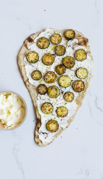 Zucchini Labneh Naan Pizza