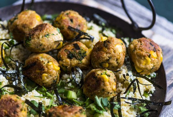 Tofu Balls with a Herbed Bulgur Salad