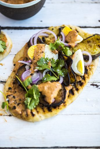 Olive Oil Flatbreads with Fried Aubergine, Boiled Eggs and Harissa Mayo