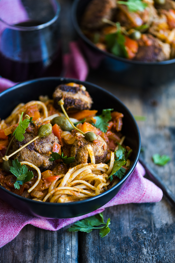 Saucy Fish Meatballs with Linguini