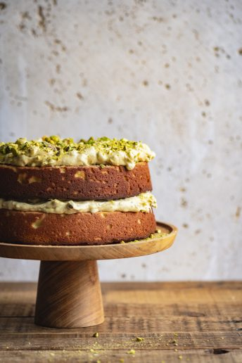 Lemon Ricotta Cake with Toasted Pistachio Frosting