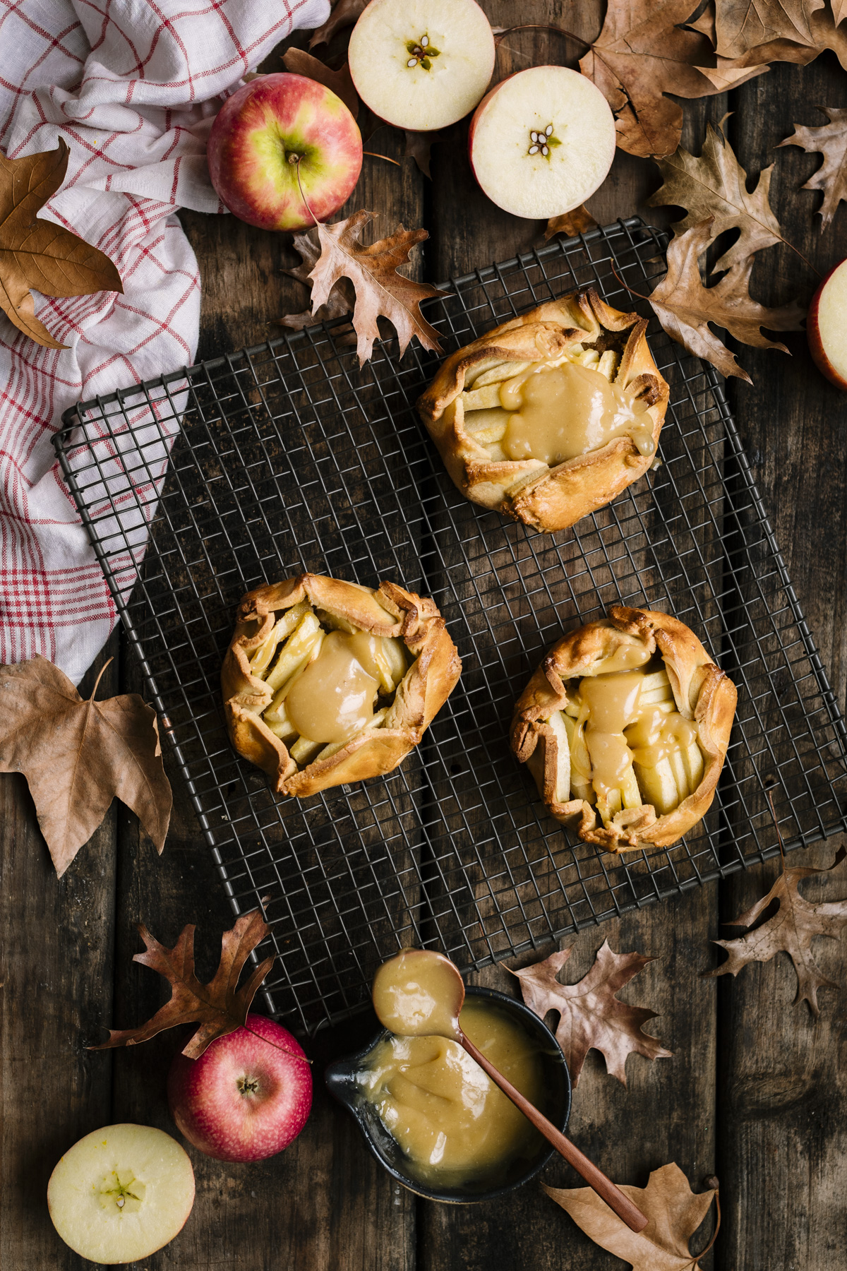 Apple Galettes with Spelt Crusts and Tahini Butterscotch Sauce