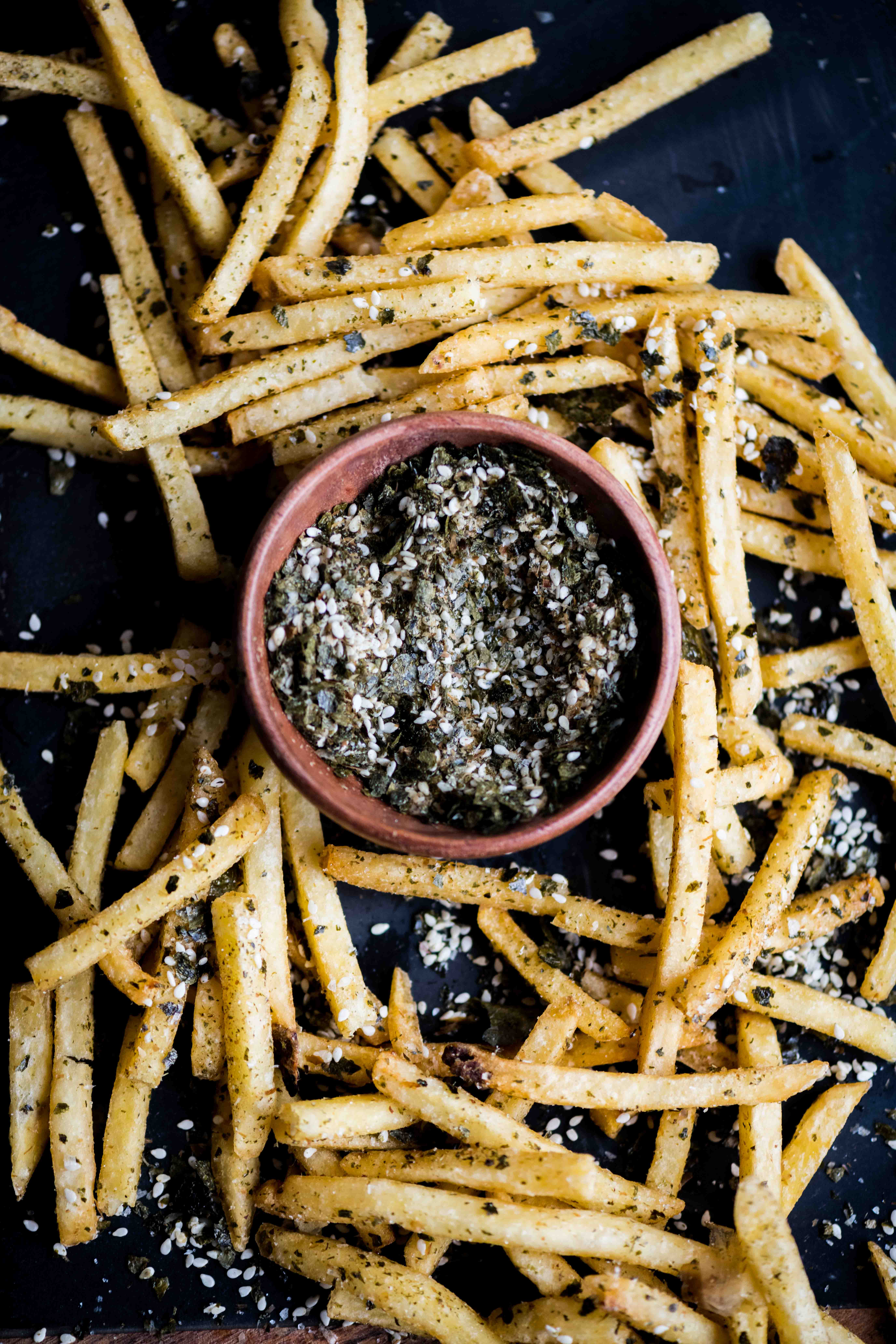 Fries with Homemade Furikake Seasoning and Wasabi Mayo