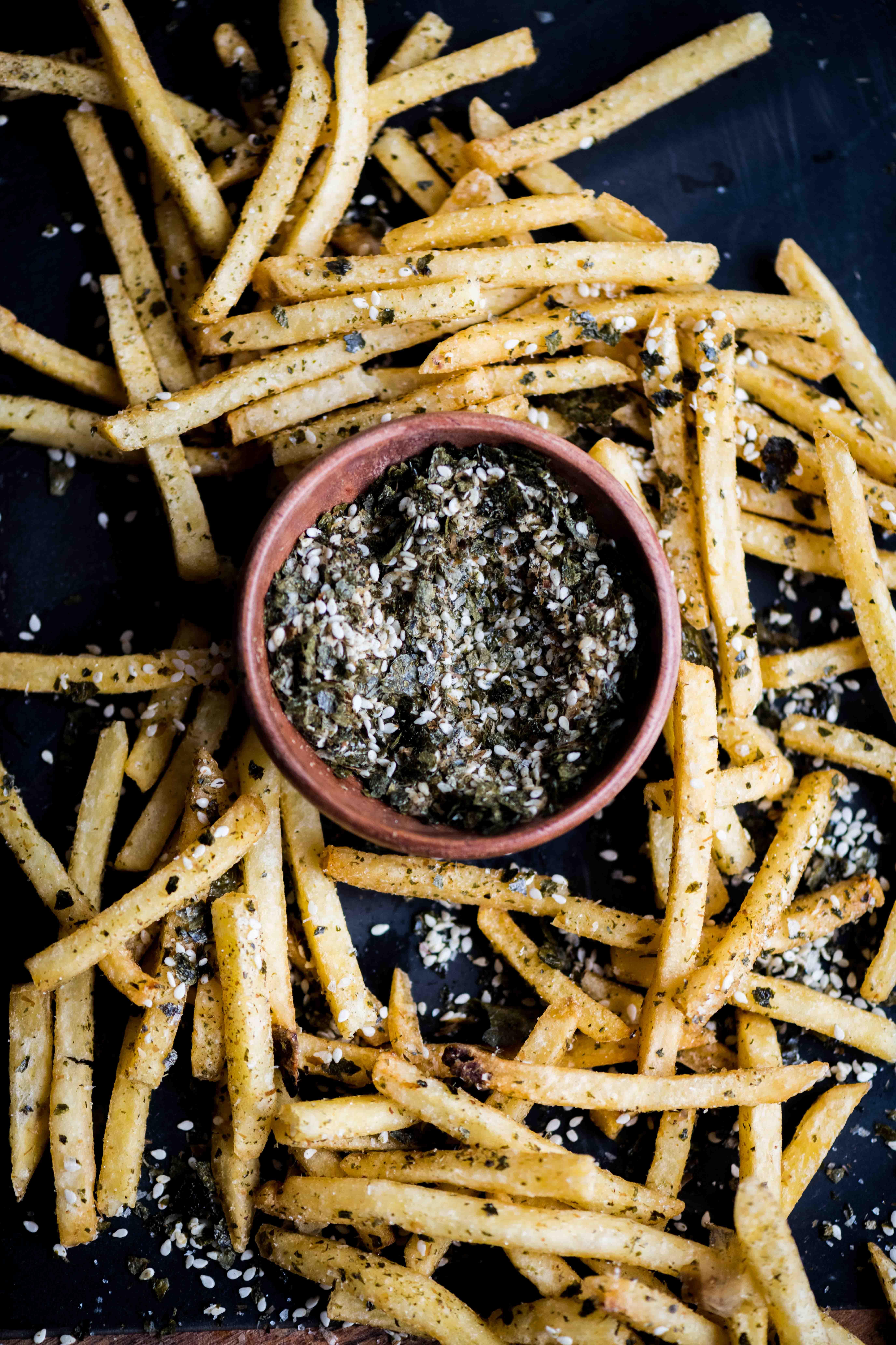 Fries with Homemade Furikake Seasoning and Wasabi Mayo