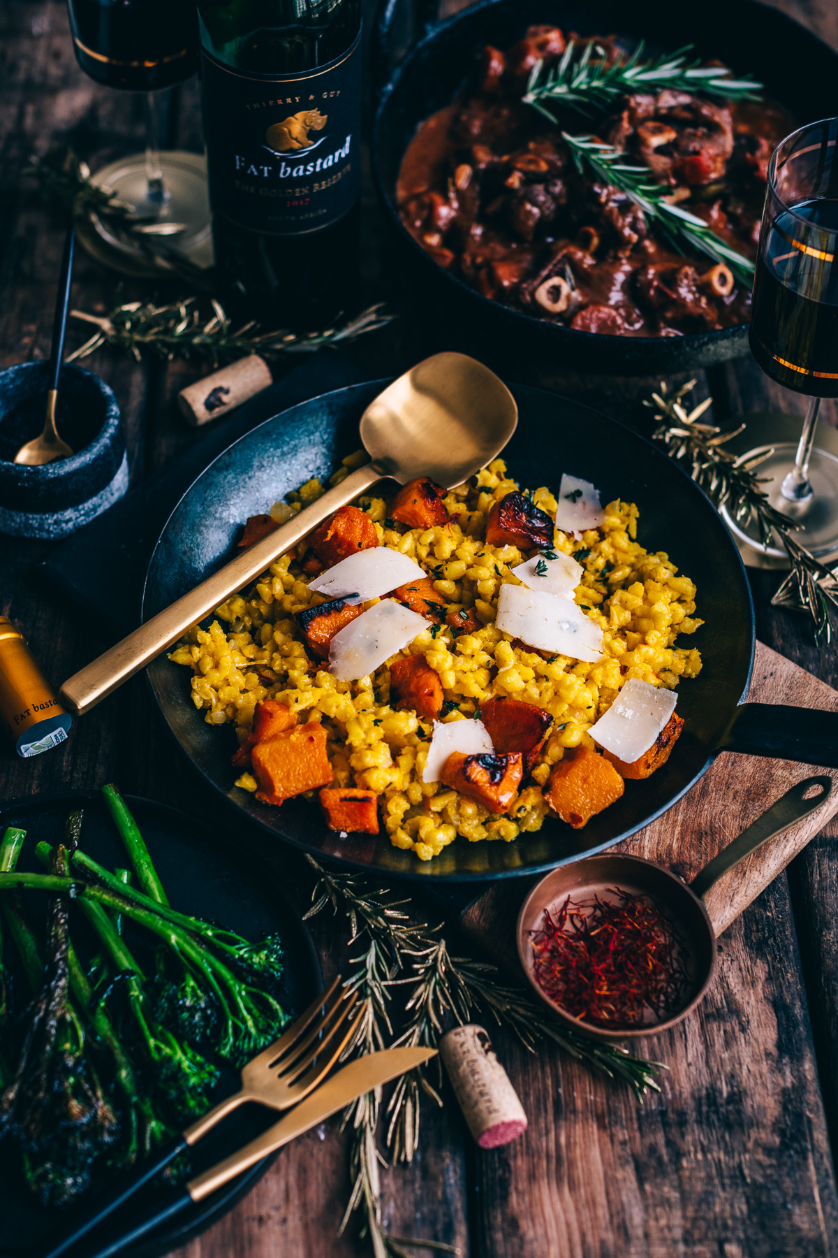 Saffron & Butternut Samp Risotto with Lamb Knuckle Stew