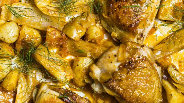 Crispy Harissa and Lemon Chicken & Potatoes