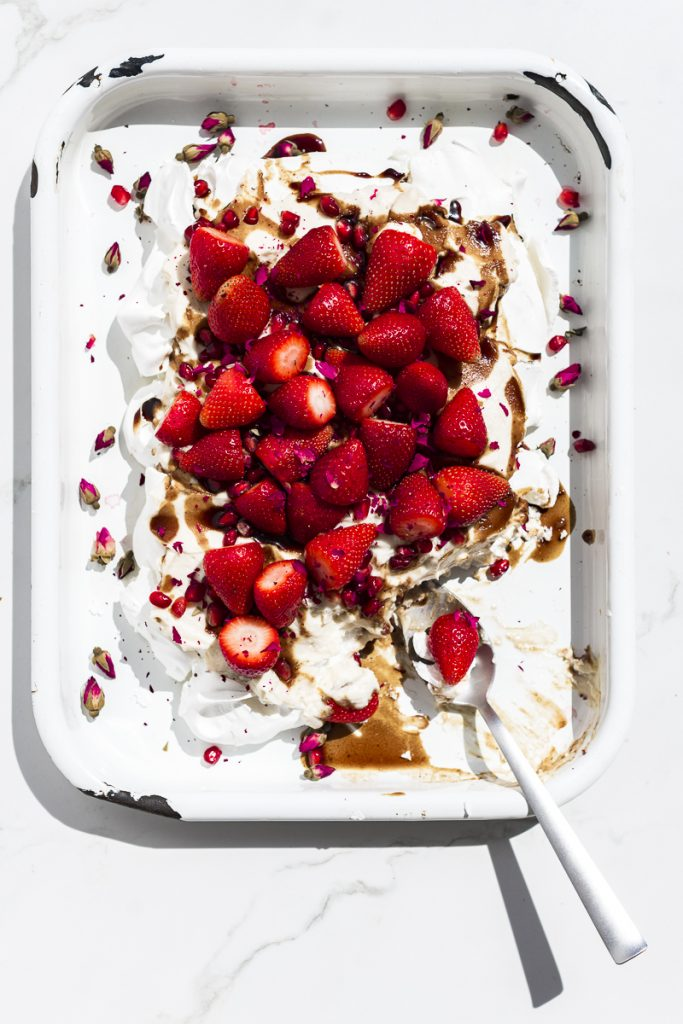 Pavlova with Brown Sugar Labneh and Strawberries