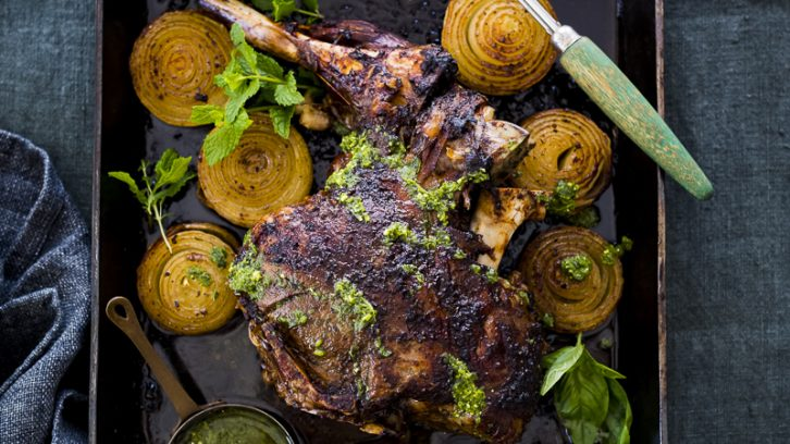 Slow Roasted Leg of Lamb with Roasted Onions and Chimichurri
