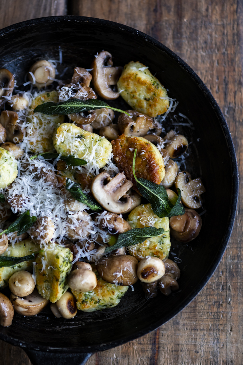 Herbed Ricotta Gnocchi with Mushrooms
