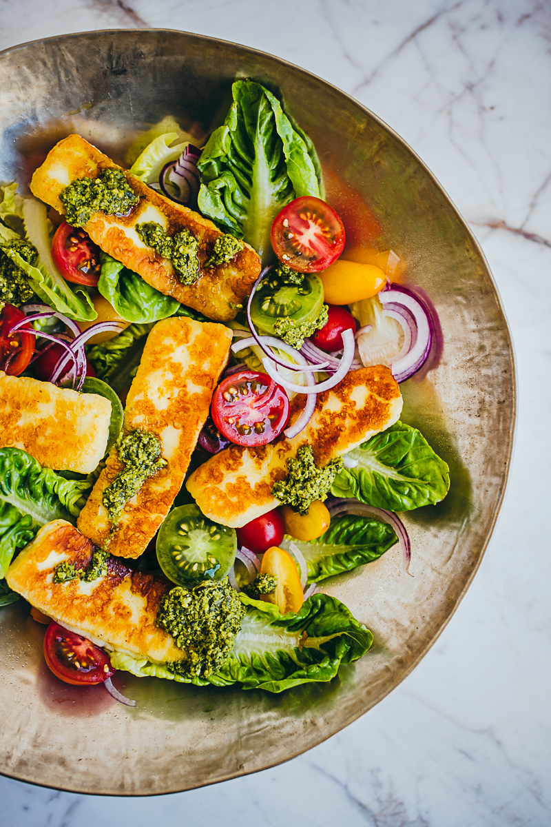 Halloumi Salad with Hemp Pesto