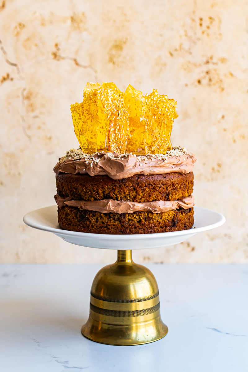 Tahini Cake with Chocolate Sesame Frosting