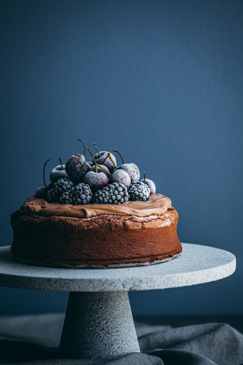 Chocolate Tahini Cake With Nutella & Sour Cream