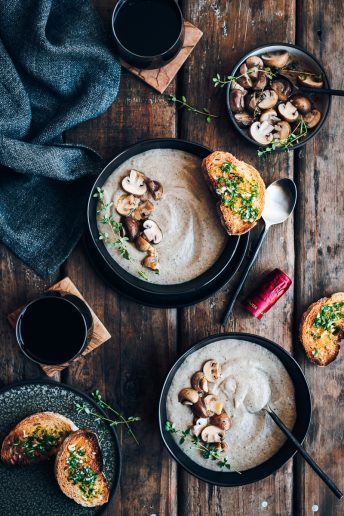 Mushroom Soup with Marinated Mushrooms