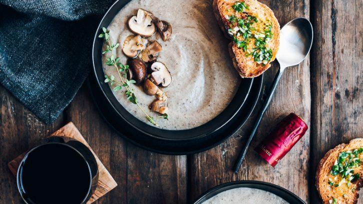 Mushroom Soup with Marinated Mushrooms