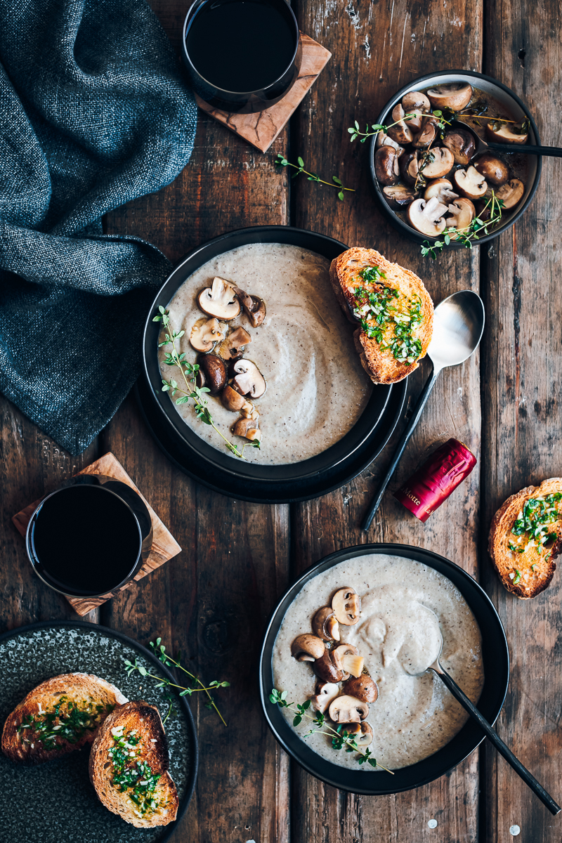 Mushroom Soup with Marinated Mushrooms and Garlic Toasties