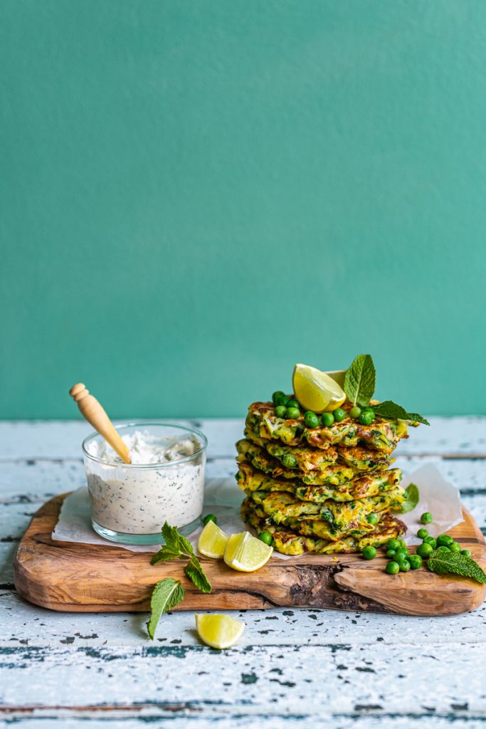 Zucchini Pea Fritter with Feta and Green Goddess Dressing